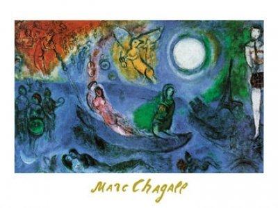 Art-Galerie Kunstdruck/Poster Marc Chagall - Il Concerto, 1957-80 x 60cm - Premiumqualität - Klassische Moderne, Nacht, Mond, Menschen, Boot, Schiff, Flur, Treppenhaus - Made IN Germany SHOPde