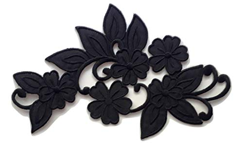b2see Iron On Bügel Bügelbild Applikation DIY Näh Motive Blumen Borte schwarz groß für Textilien