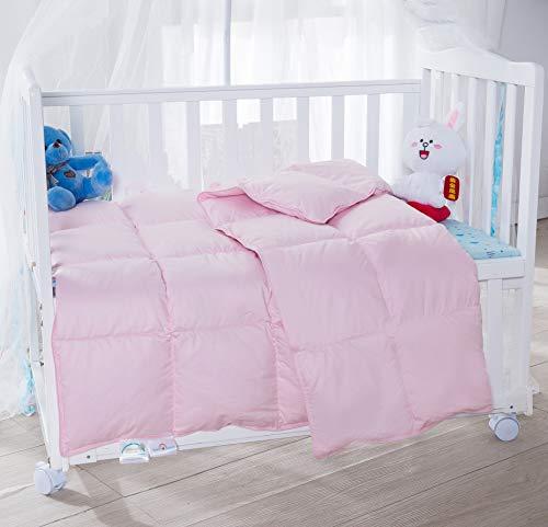 KumiQ Crib Summer Lightweight 100% Natural White Goose Down Baby Toddler Comforter Duvet Blanket,100% Down-Proof Cotton Shell,Machine Washable (Pink, 41x48in)
