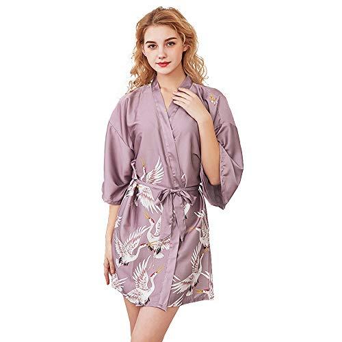 Mini Balabala Mujer Vestido Kimono Corto Pijama Bata Satén Estampado Flores Ropa de Dormir 3/4 Manga con Cinturón Elegante Pijama