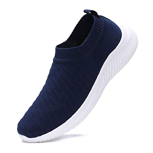 FUDYNMALC Men's Fashion Walking Sock Shoes Lightweight Breathable Mesh Tennis Sneakers Comfortable Knit Slip On Gym Running Shoes Navy Blue