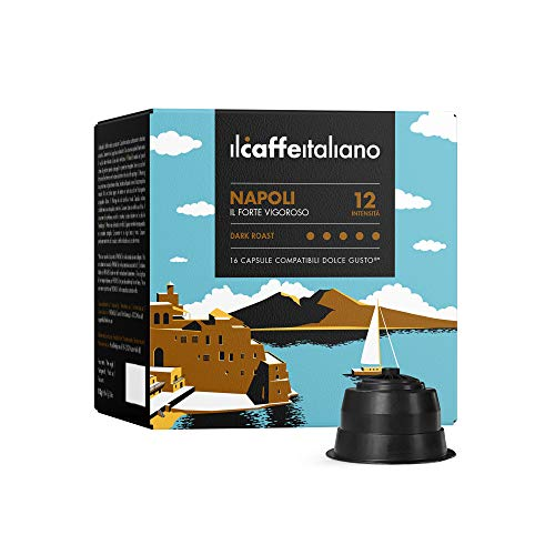 FRHOME - 96 capsules de café compatible Nescafé Dolce Gusto - Cafè Mélange Napoli intensité 12 - Il Caffè Italiano