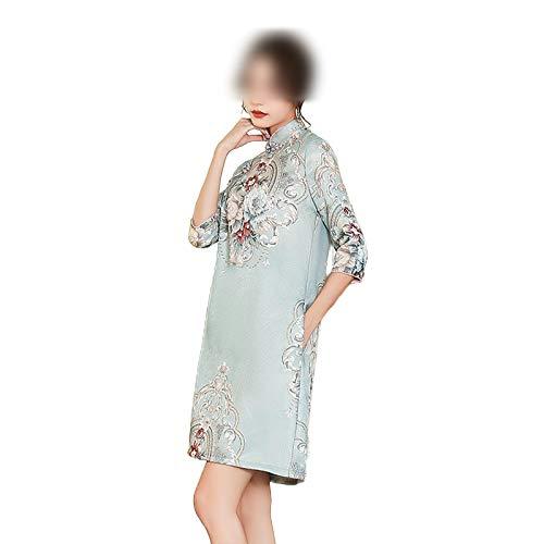 who-care Tradicional Chinas Mujeres Media Manga Mini Vestido Otoo Brocado Satn Mandarn Cuello Qipao Sexy Una Lnea Suelta Cheongsam