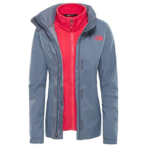 THE NORTH FACE Damen Jacke Evolve II Triclimate, Grisaille Grey/Atomic Pink, S, T0CG566VW