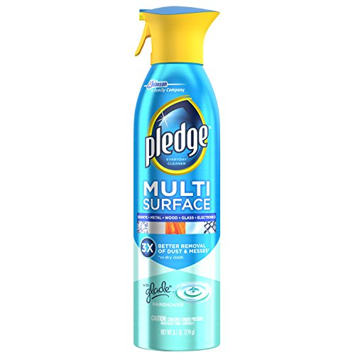 Pledge Multi-Surface Cleaner Spray with Glade, Works on Glass, Leather, Granite, Wood, Laminate, Marble, Electronics, Mirrors, and More, Rain Shower, 9.7 oz