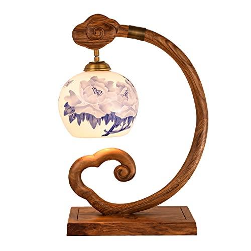 Lamparas de Mesita Lámpara de mesa regulable Lámpara de escritorio de la vendimia con la lámpara de la base de la base de la caoba con la lámpara de cerámica para la pomo de la sala de estar atenuació