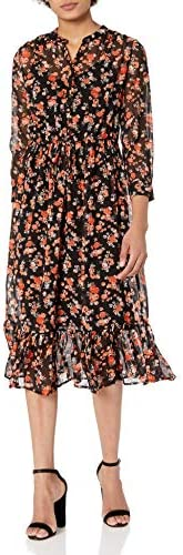 Lucky Brand Women s Long Sleeve V Neck Button Up Tie Waist Floral Georgia Midi Dress Black Multi product image