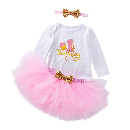 K-youth Vestidos Bebé Primer Cumpleaños Niñas Tutú Vestido de Princesa Vestidos de Fiestas para Niñas 3pcs Conjunto de Mameluco + Tutú Falda + Bowknot Diadema Disfraz Barata(Rosa, 12-18 Meses)