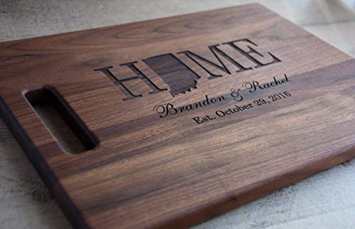 Personalized Laser Engraved Wood Cutting Board With State Shape Design