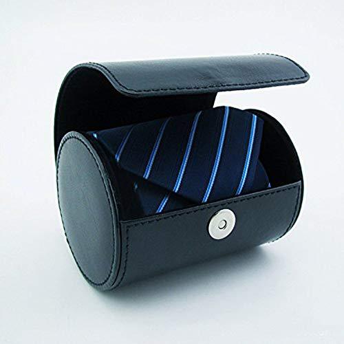 Tie Case Necktie Storage Luxury Storage Travel PU Leather Bow Tie Packaging Gift Box Cylinder Shape Fosinz (Blue)