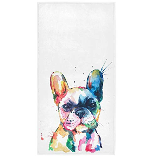Wamika French Bulldog Puppy Hand Towels 16x30 in Watercolor Dog Colorful Art Bathroom Towel Soft Absorbent Deer Small Bath Towel Kitchen Dish Guest Towel Home Bathroom Decorations