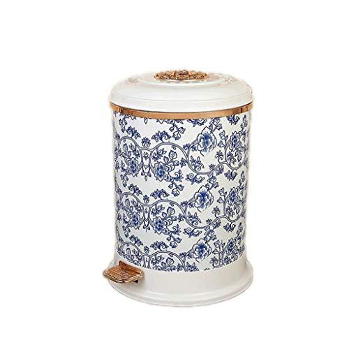 MMADD Retro Wohnzimmer-Studie Office Fußabdeckung Mülleimer blau und weiß Porzellan Wohnmüll Behälter,A
