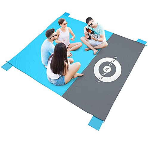 PELLOR Beach Blanket Picnic Blanket Extra Large 7983 IN Waterproof Sandproof Water Resistant Beach Mat with 4 Fixed Nails for Beach Camping Traveling Mountaineering with 6 Sandbags