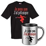 Ensemble Tee Shirt Noir et mug INOX Je Peux Pas J'Ai pétanque Tee Shirt Humoristique de Bonne qualité.