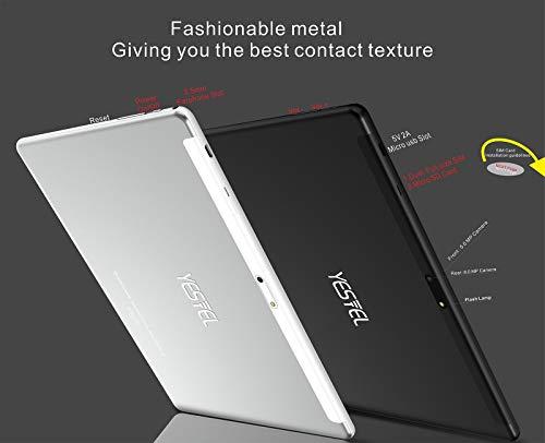 YESTEL Tablet 10 Pulgadas Android Tableta 4GB RAM + 64GB ROM + Expandido 128G Pantalla HD IPS y Quad Core Dual SIM LTE/WiFi 8000mAh Batería con Mouse y Teclado-Plata