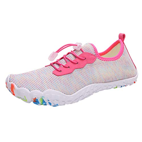 Great Features Of Pink Aqua Shoes for Womens Beach Barefoot Water Shoes Adults Slip-on Flat Quick Dry Swim Shoes Breathable Anti-Slip