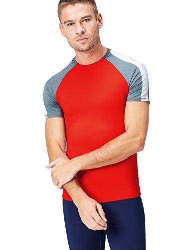 Activewear Camiseta Bicolor para Hombre, Rojo (Sport Red/grey Marl/white), Medium
