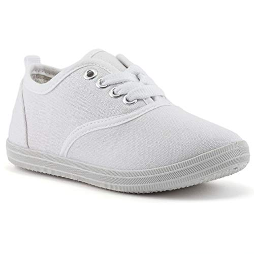 Girls White Canvas Tennis Shoes