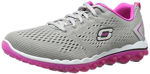 Skechers Sport Women's Skech Air Aim High Fashion Sneaker,Gray Mesh/Pink Trim,8 M US