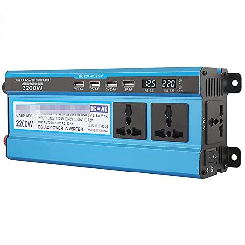 LLSS Inversor de Corriente para automóvil de 2200 W, Transformador convertidor de Voltaje para automóvil de 12 V CC a 220 V CA con enchufes de 3 Pines y Puertos 4-USB