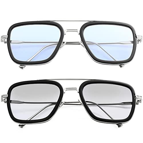 Tony Stark Gafas de sol vintage cuadradas de metal para hombres y mujeres, gafas de sol Iron Man y Spider-Man