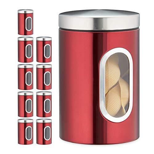 Relaxdays 10 x Vorratsdose, 1,4 L, mit Deckel und Sichtfenster, für Kaffee, Mehl, Pasta, Aufbewahrungsdose Küche, Metall, rot