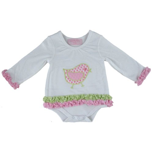 Mud Pie Baby Lil' Chick Long Sleeve Cotton Bodysuit Dress, White/Pink, 0-6...