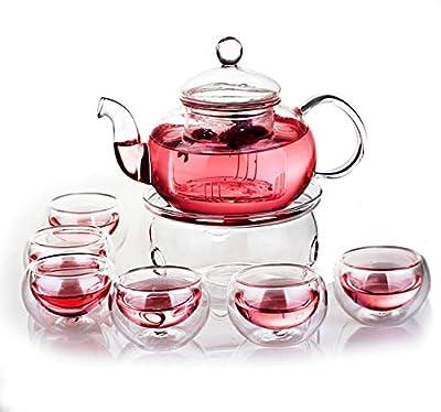 Glass Teapot Set, 27OZ/800ml Glass Tea Kettle with 6 Tea cups & Removable Infuser & Tea Warmer, Stovetop & Microwave Safe Suitable for Blooming Tea & Loose Leaf Tea Maker