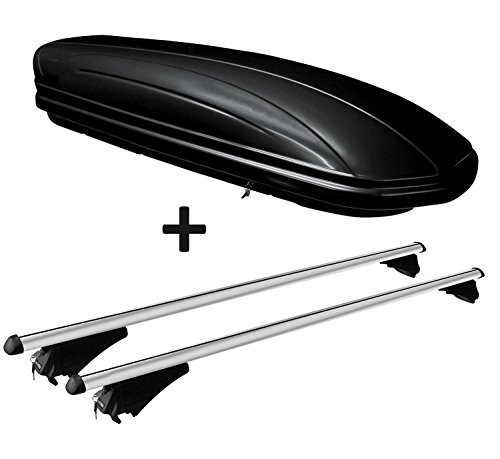 VDP Dachbox schwarz glänzend MAA320G günstiger Auto Dachkoffer 320 Liter abschließbar + Alu-Relingträger Dachgepäckträger aufliegende Reling im Set kompatibel mit Volvo XC90 ab 14