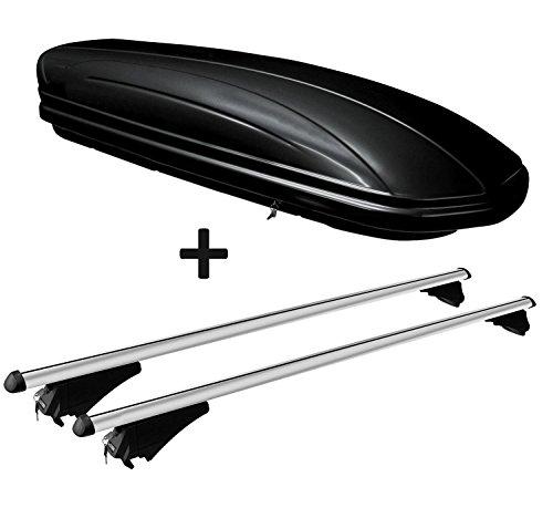 VDP Dachbox schwarz glänzend MAA320G günstiger Auto Dachkoffer 320 Liter abschließbar + Alu-Relingträger Dachgepäckträger aufliegende Reling im Set kompatibel mit Opel Insignia Sportourer 2009-2017