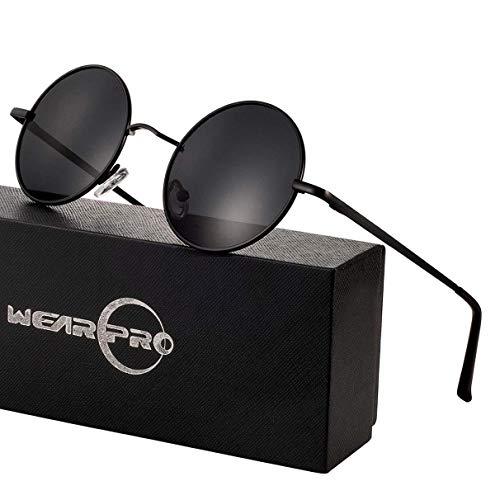 wearPro Retro Polarisiert Sonnenbrille Herren Damen Verspiegelt - Runde Retro Polarisierte Sonnenbrille Herren Damen Vintage (D-Linse:Schwarz,Gestell:Metallfarbe)