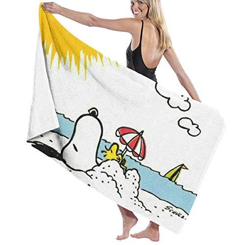 Snoopy Sonnenbaden Männer Frauen Duschtuch,Mikrofaser Badetücher,Pflegeleicht Handtücher,Tragbar Fitnessstudio Sporthandtücher,Sand Proof Strandtücher