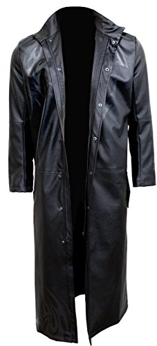 Spiral - Mens - Wolf CHI - Gothic Trench Coat PU-Leather with Full Zip - S Black