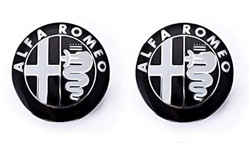 Confezione di emblemi per cofano e baule da 74 mm di ricambio. Badge nero (2 unità)