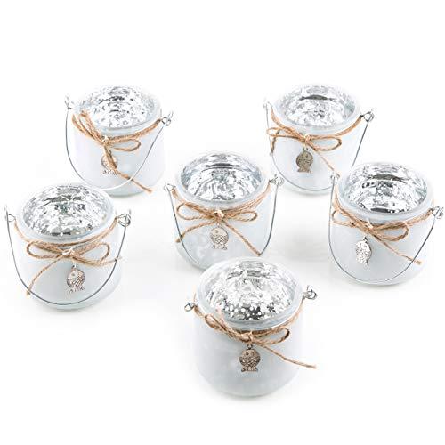 Logbuch-Verlag 6 Maritime Teelichtgläser mit Henkel weiß Silber Fisch - Deko Badezimmer Tischdeko Taufe Kommunion Firmung