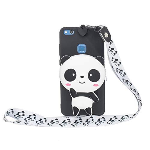 WOOHOO Funda para [Huawei P9 Lite/G9 Lite/Honor 8 Smart] Panda Modelo (cordón Largo) Silicona Suave Portada de Dibujos Animados de Animales Lindo Carcasa 3D con Cordón para Mujeres y Niños - Negro