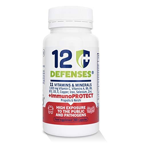 ImmunoPROTECT 12 Defenses | Multivitaminas Sistema Inmunitario, Defensas | Alta Protección | Fórmula Completa | 60 Cápsulas Vegetarianas