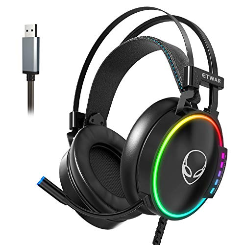 ETWAR USB Gaming Headset with MIC for PC Computer Headphones with MIC USB7.1 Surround Sound headset with Noise Canceling Microphone RGB light gaming headphones for PS4 Console USB headphone for Laptop