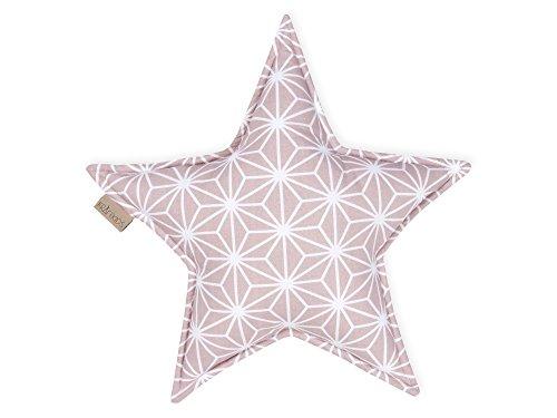 KraftKids Sternkissen weiße Diamante auf Cameo Rosa, 45 cm großes Kuschelkissen, Deko-Kissen für das Kinder-Zimmer