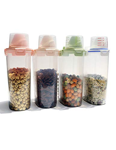 Rice Storage Bin Cereal Containers Dispenser with BPA Free Plastic + Airtight Design + Measuring Cup + Pour Spout - 3KG Capacities of Rice Perfect for Rice Cooker(3L,Set of 4)