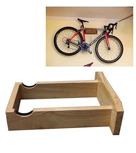 Fietsenrek Muur Gemonteerd - Handgemaakt - Rubberen Hout - Fietscyclus Opslagrek Mountainbike