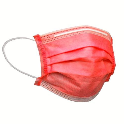 Einmal-Masken-Mundschutz, Einwegmasken Mundschutz, Mund und Nasenschutz, Mundschutz Maske, Maske Schutzmaske, Mund und Nasenschutzmaske, Mundschutz Einweg, MNS Maske (10, Rot)