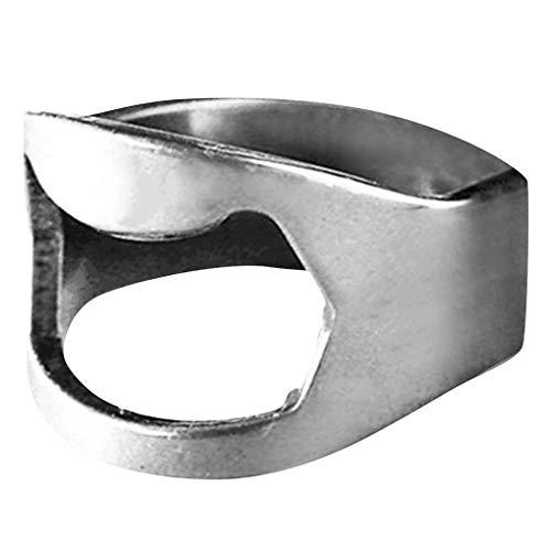 Skxinn Edelstahl-Fingerring Ring Outdoor Mini Finger Ring Beer Opener Bierflasche Opener Für Bier Bar Tool(Silber,One size)