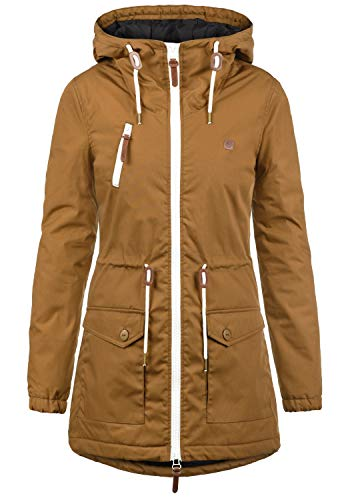 DESIRES Tilonga Damen Übergangsparka Parka Übergangsjacke Lange Jacke mit Kapuze, Größe:S, Farbe:Cinnamon (5056)
