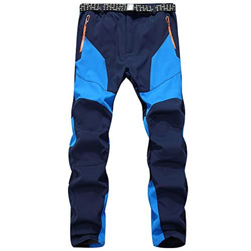 SUKUTU Pantaloni da Trekking per Uomo Softshell da Esterno Pantaloni in Pile Ispessimento Pantaloni Lunghi da Sci Sportivi Antivento Caldi e Impermeabili