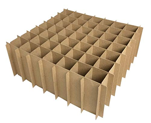 Chipboard Box Dividers 49 Cells for 2 oz (60ml) Boston Round (100 Pack) for eLiquid Vape Juice, Essential Oils, Cosmetics etc. Fits Inside Any 12 x 12 Box Like Large Flat Rate USPS Box