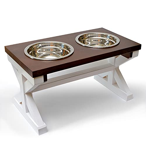 Raised Dog Bowls for Large and Medium Dogs, Wooden Dog Food Bowl Stand for Medium Dogs, Elevated Dog Bowls for Large Dogs, Dog Bowl Stand for Medium to Large Sized Dogs, Farmhouse Dog Bowl Holder