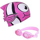 Superpop Kids Swim Caps Set, Soft Silicone Character Goldfish Swimming Cap Leakproof Swim Caps, Anti Fog, UV...