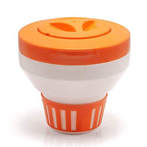 """WWD POOL Floating Pool Chlorine Dispenser for Chemical Tablets Fits 3"""" Tabs Bromine Holder Chlorine Floater (Orange)"""