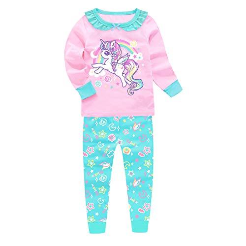 Conjunto de pijamas para niñas que brillan en la oscuridad Rainbow Unicorn Print Kids Pjs Pijama de manga larga de algodón Sleepewar Tops Camisas y pantalones Ropa de dormir Rosa Unicornio 3 años